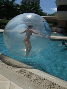 lady in water bubble ball